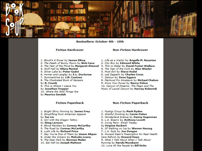 Book Soup Best Seller List